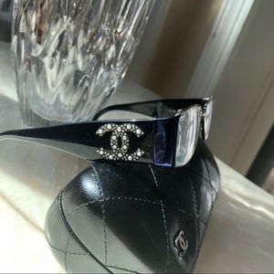 Navy CHANEL Glasses w/ Pearls & Swarovski Crystals